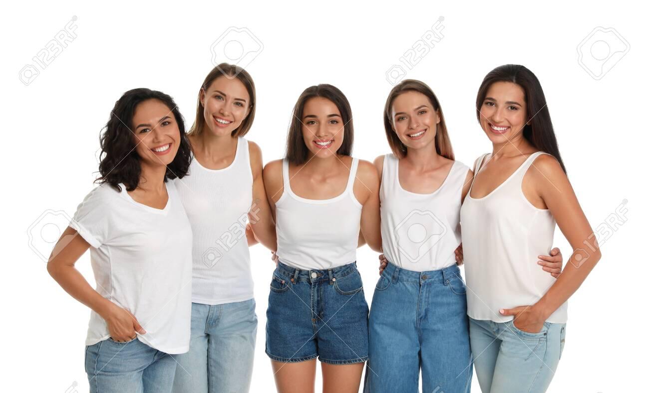 Happy women on white background. Girl power concept - 130497010