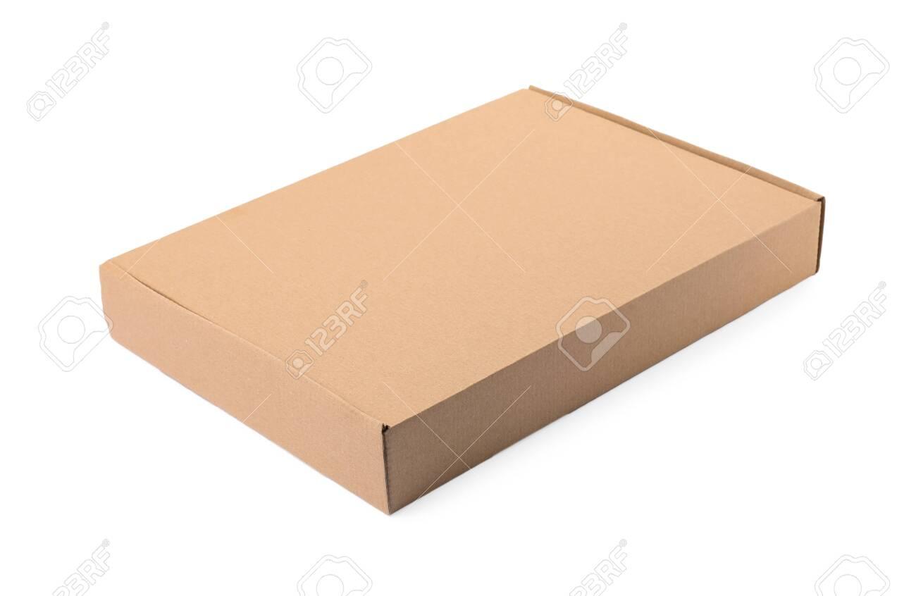 Closed cardboard box on white background. Mockup for design - 130585089