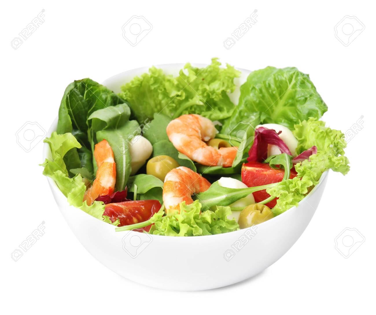 Tasty salad of fresh ingredients on white background - 130583005