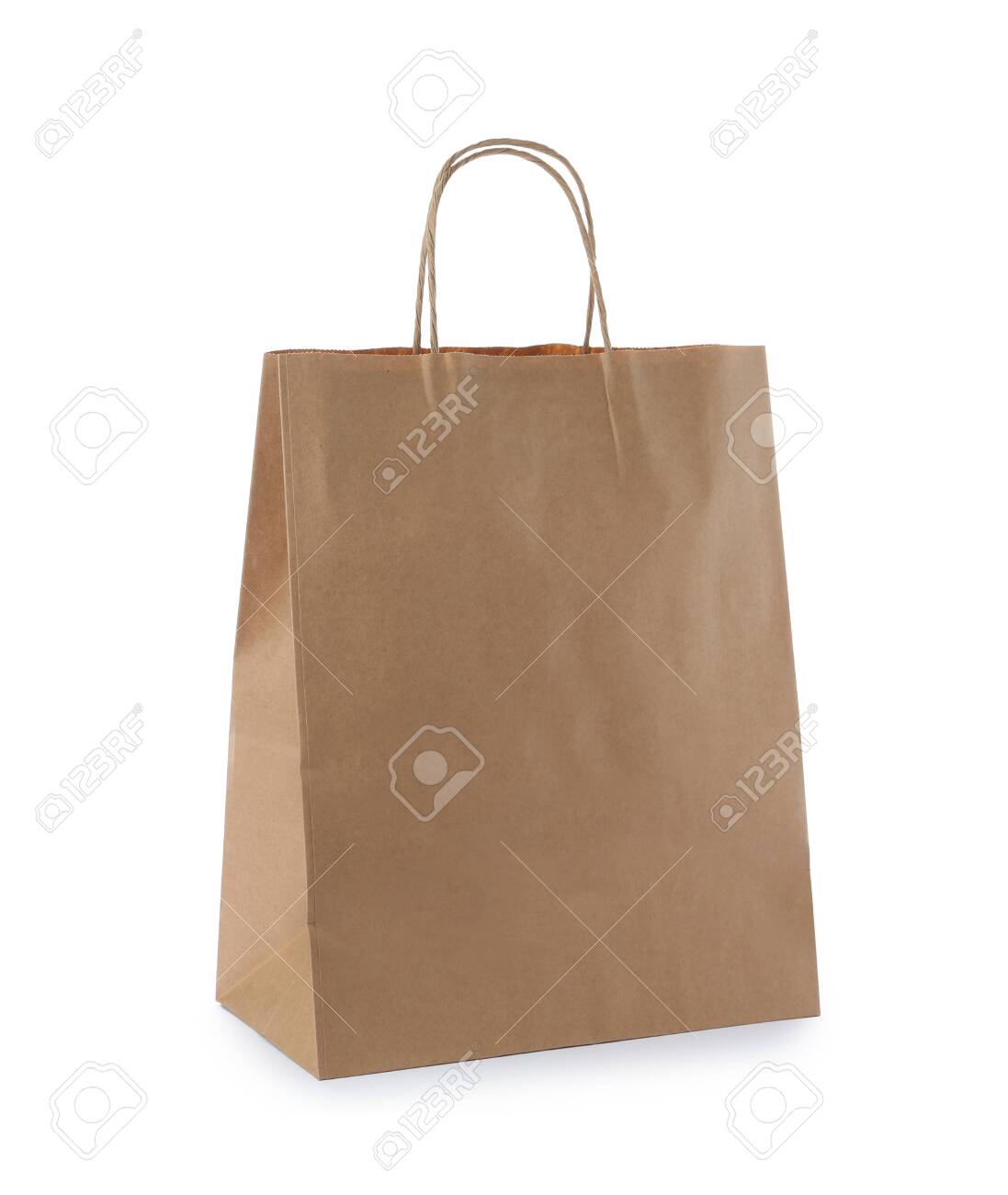 Empty craft paper bag isolated on white. Mockup for design - 130795951