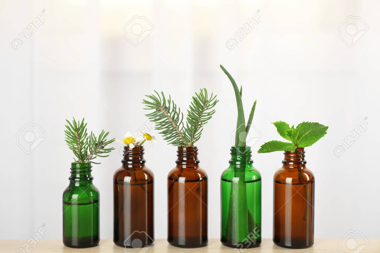 Glass bottles of different essential oils with plants on table - 131461934