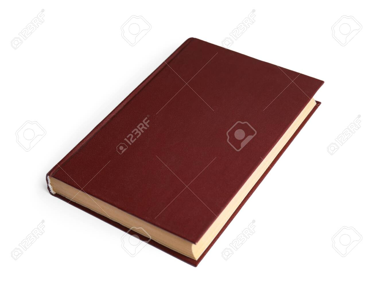 Book with blank brown cover on white background - 131582144