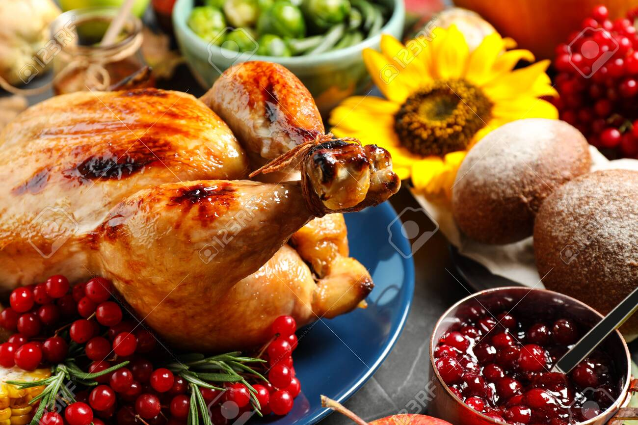 Composition with delicious turkey and autumn vegetables as background, closeup. Happy Thanksgiving day - 131677001