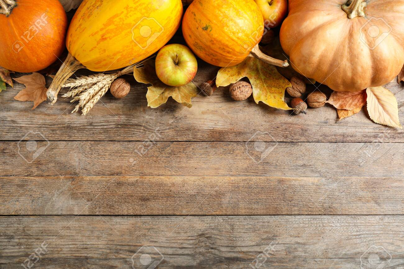 Autumn vegetables on wooden background, flat lay with space for text. Happy Thanksgiving day - 131843067