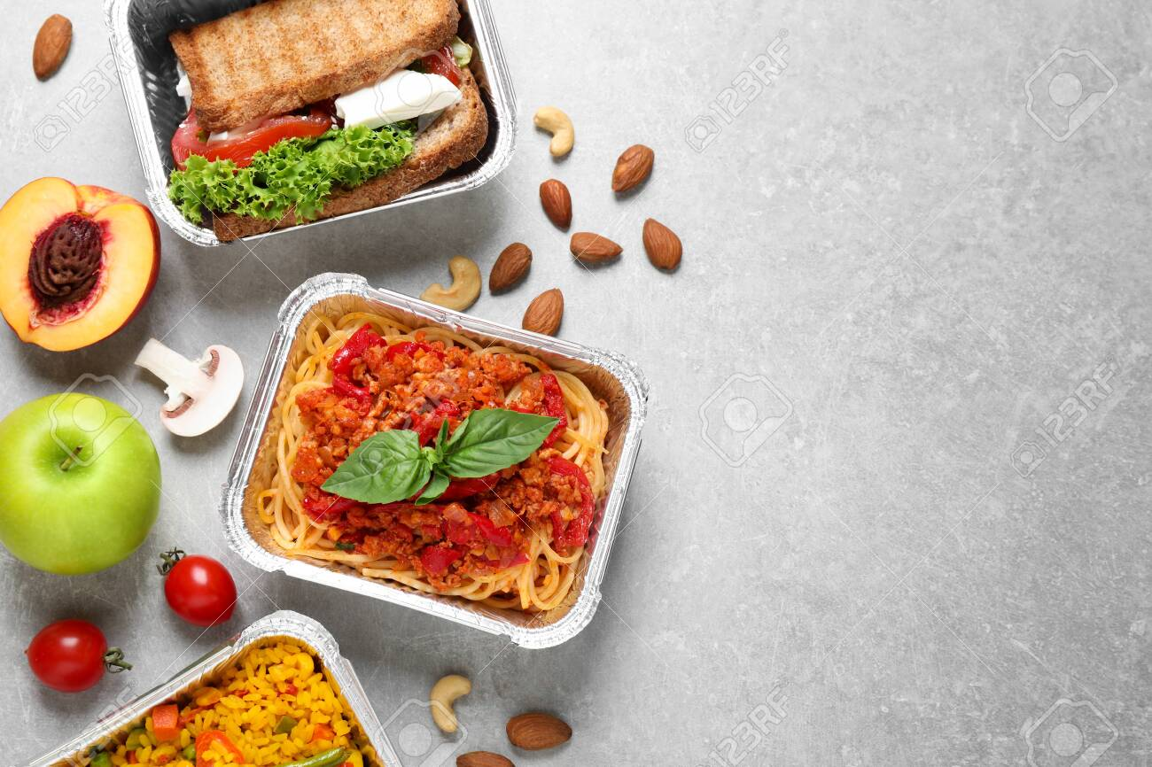 Lunchboxes on light grey table, flat lay. Healthy food delivery - 132227617