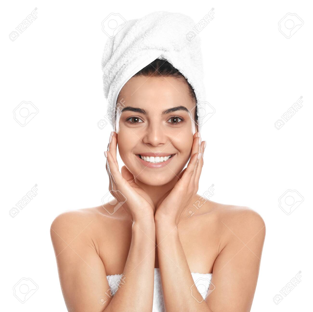 Happy young woman with towel on white background - 134105406