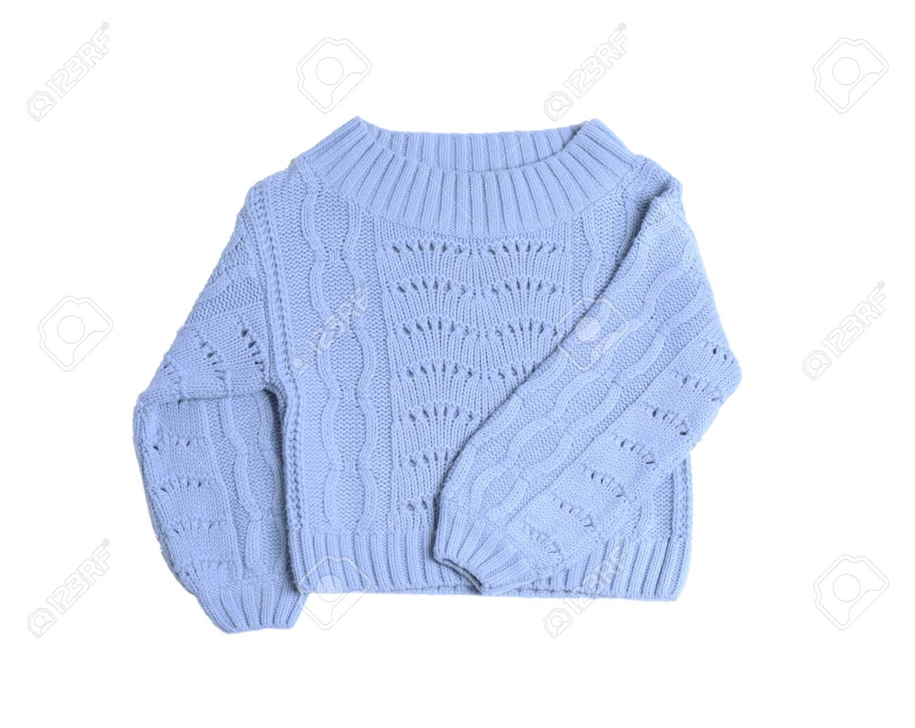 Light blue knitted sweater on white background, top view