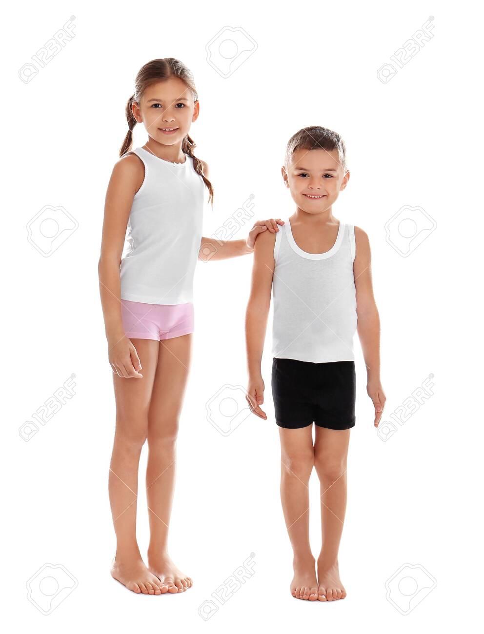 Cute little children in underwear on white background - 136175236