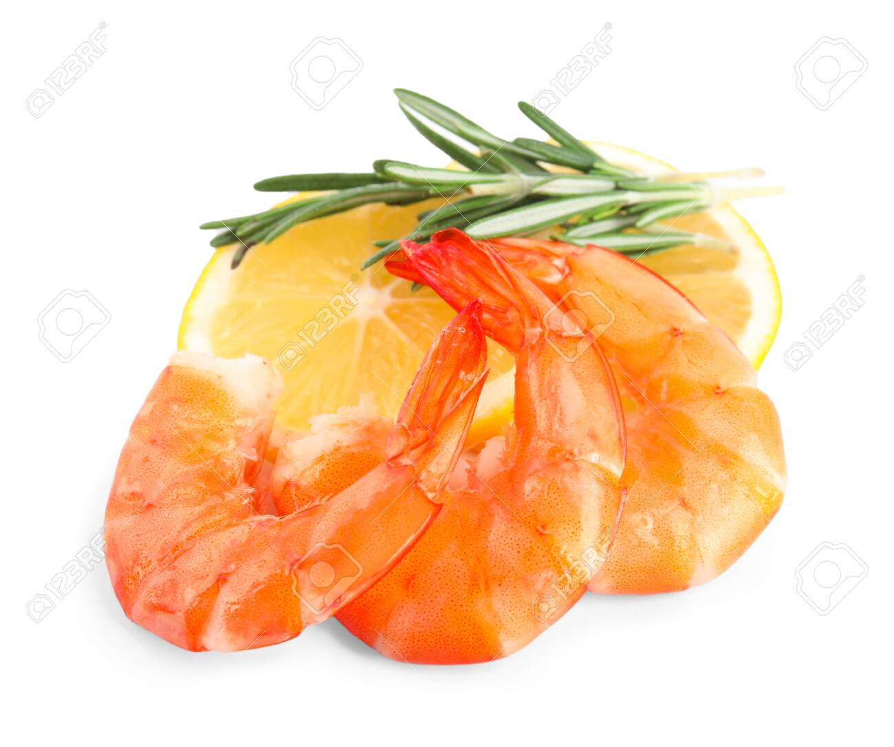 Delicious cooked shrimps, lemon and rosemary isolated on white - 136902540