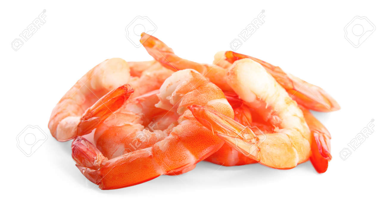 Delicious cooked peeled shrimps isolated on white - 136968692