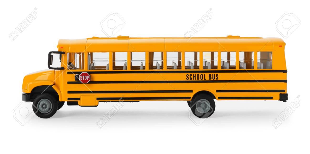 Yellow school bus isolated on white. Transport for students - 137338162