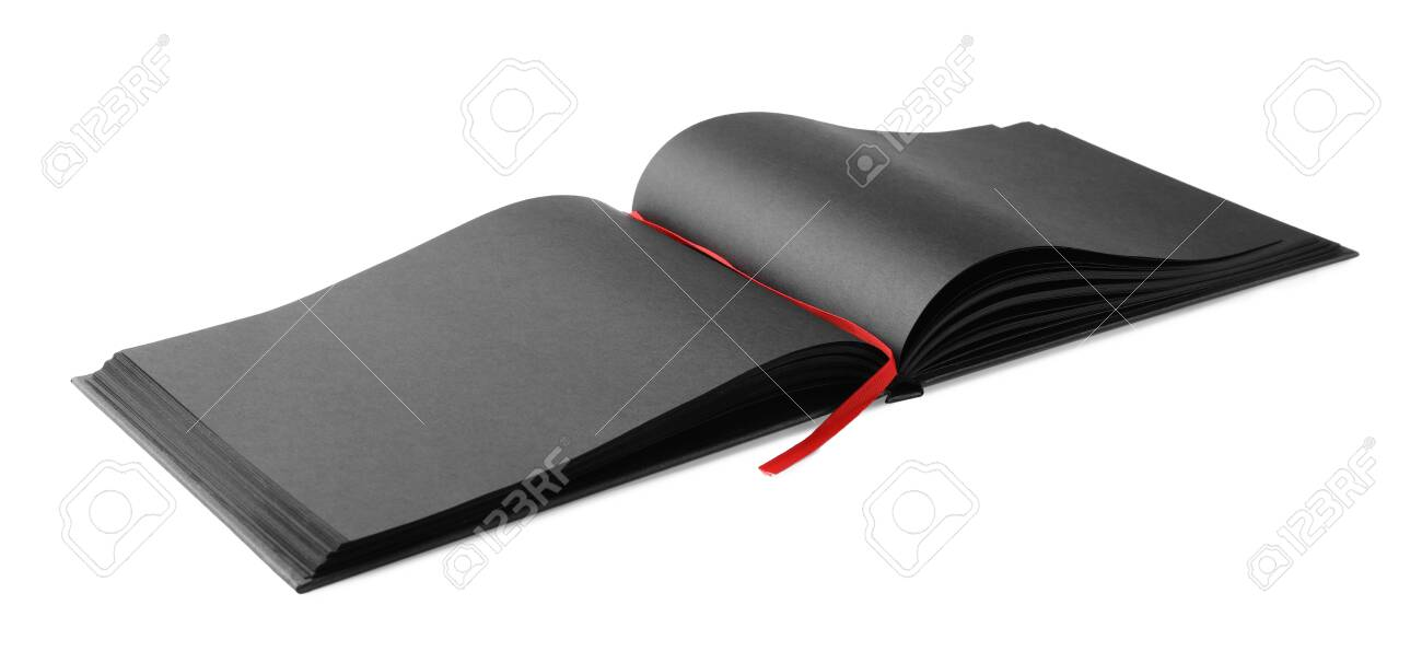 Black open notebook with blank sheets isolated on white - 137598828