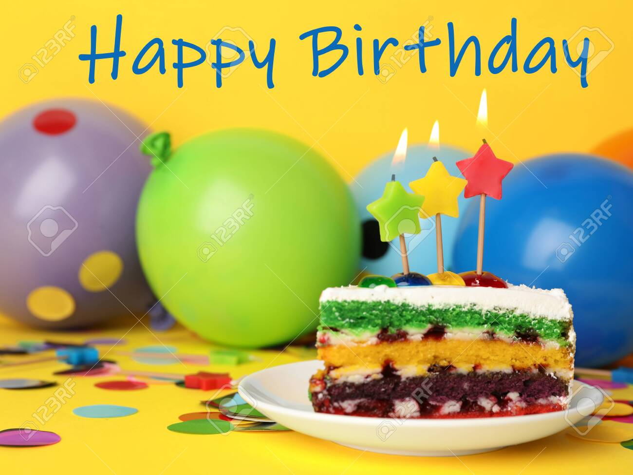 Remarkable Piece Of Birthday Cake With Candles On Yellow Background Space Funny Birthday Cards Online Overcheapnameinfo