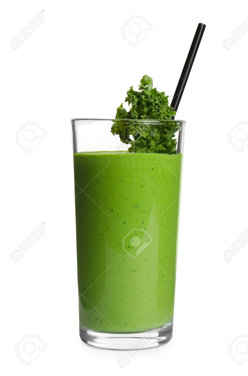 Tasty fresh kale smoothie on white background - 137869032