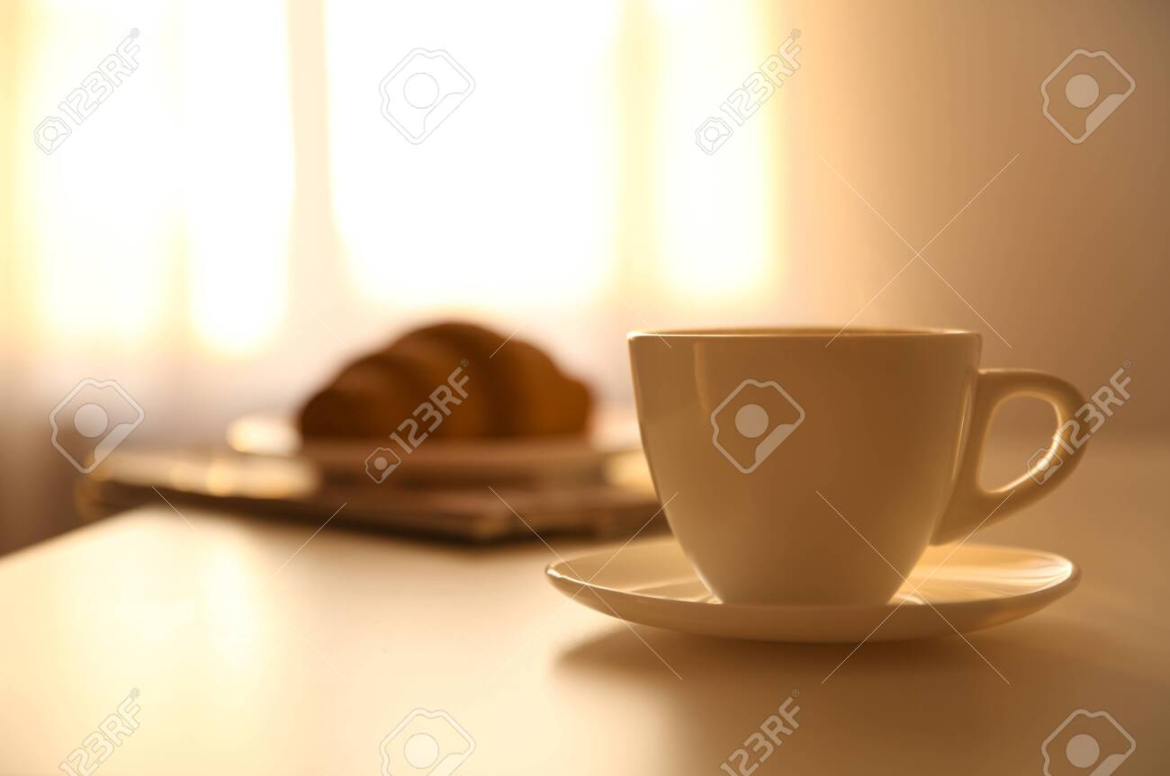 Cup of hot drink on table, space for text. Lazy morning - 138448125