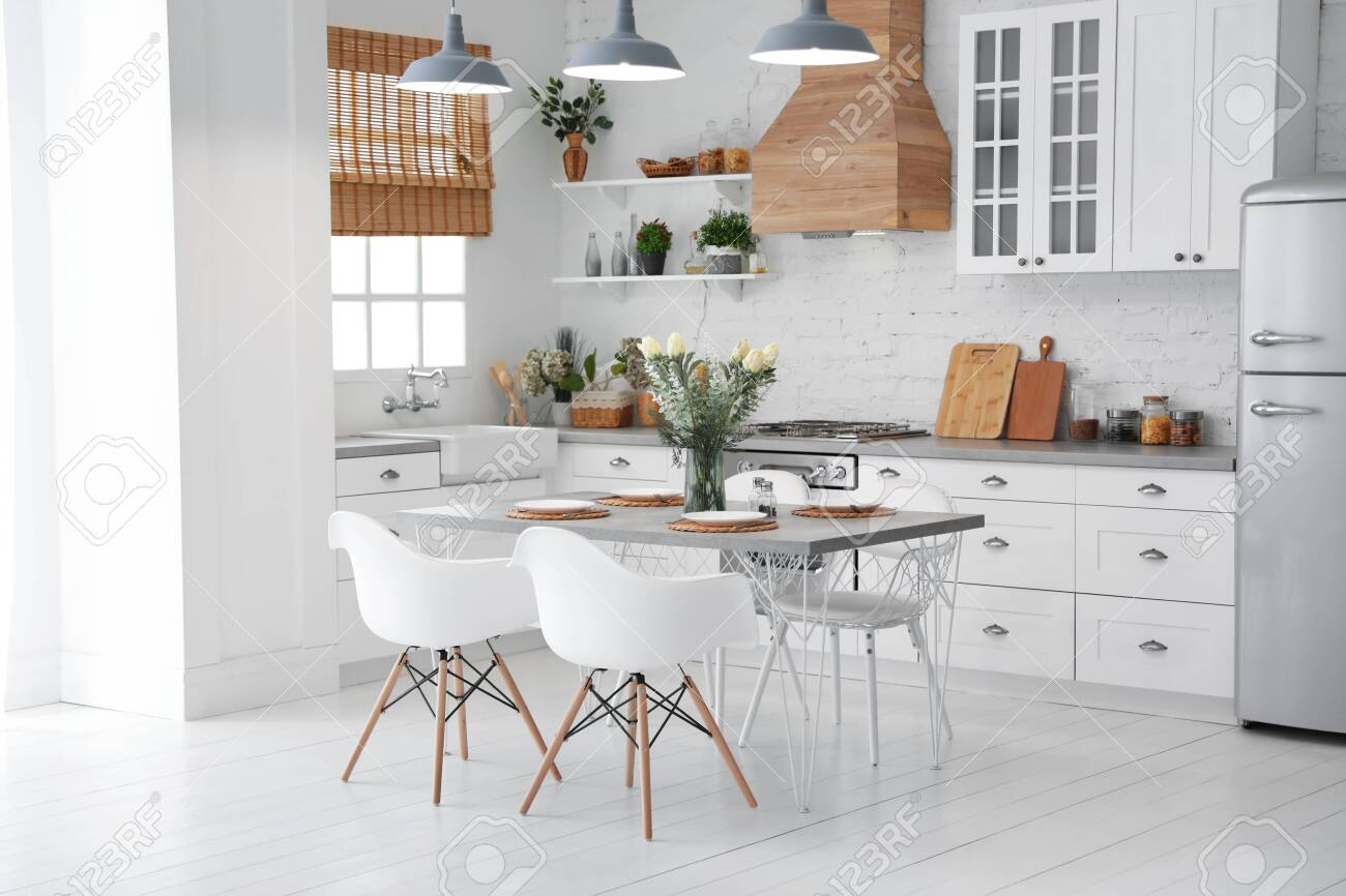 Beautiful kitchen interior with new stylish furniture - 138709643