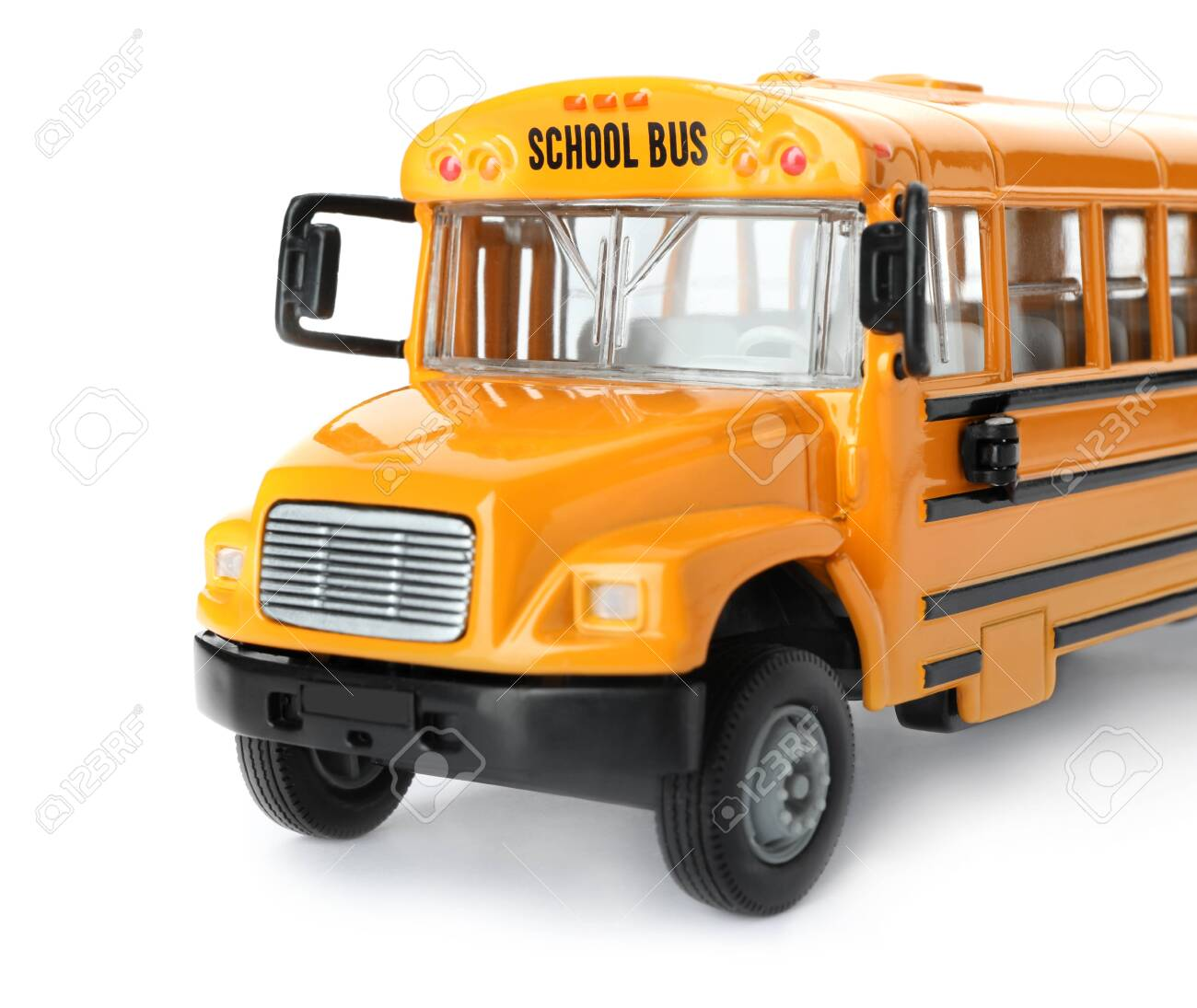 Yellow school bus isolated on white. Transport for students - 138909090