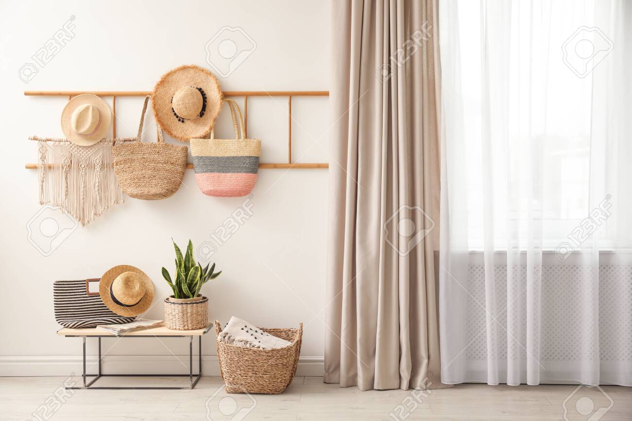 Decorative Wooden Ladder Bench And Plant At Home Idea For Interior Stock Photo Picture And Royalty Free Image Image 139398228