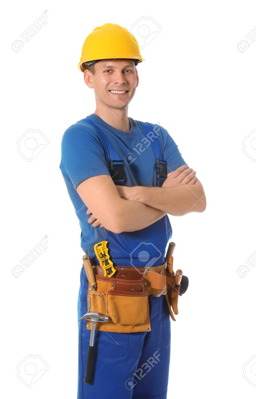 Handsome carpenter with tool belt isolated on white - 140022753