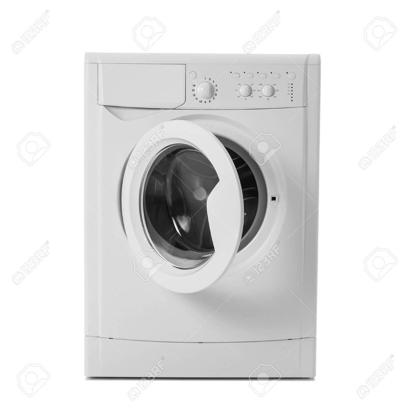 Modern washing machine isolated on white. Laundry day - 140108027