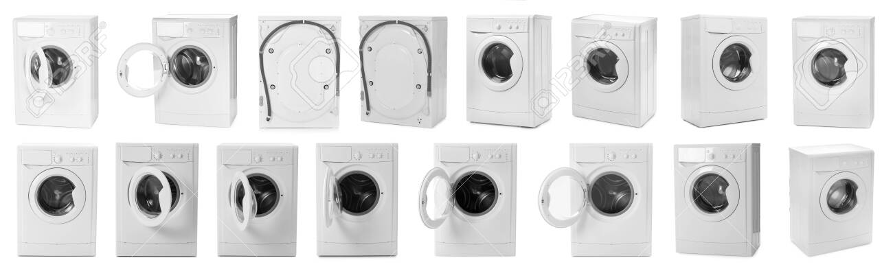 Set With Modern Washing Machines On White Background Banner Stock Photo Picture And Royalty Free Image Image 140107682