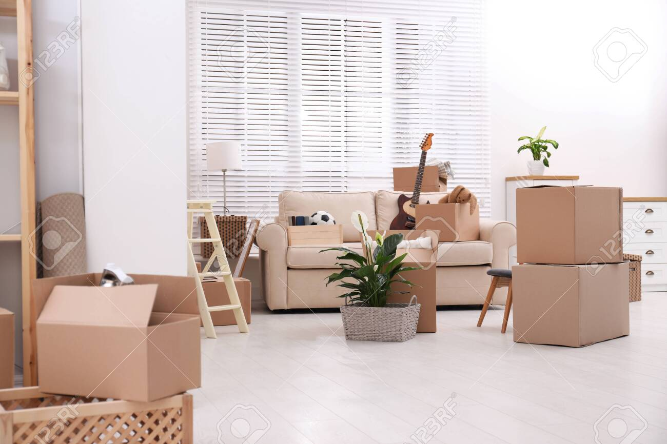 Cardboard Boxes And Household Stuff In Living Room Moving Day Stock Photo Picture And Royalty Free Image Image 140185124