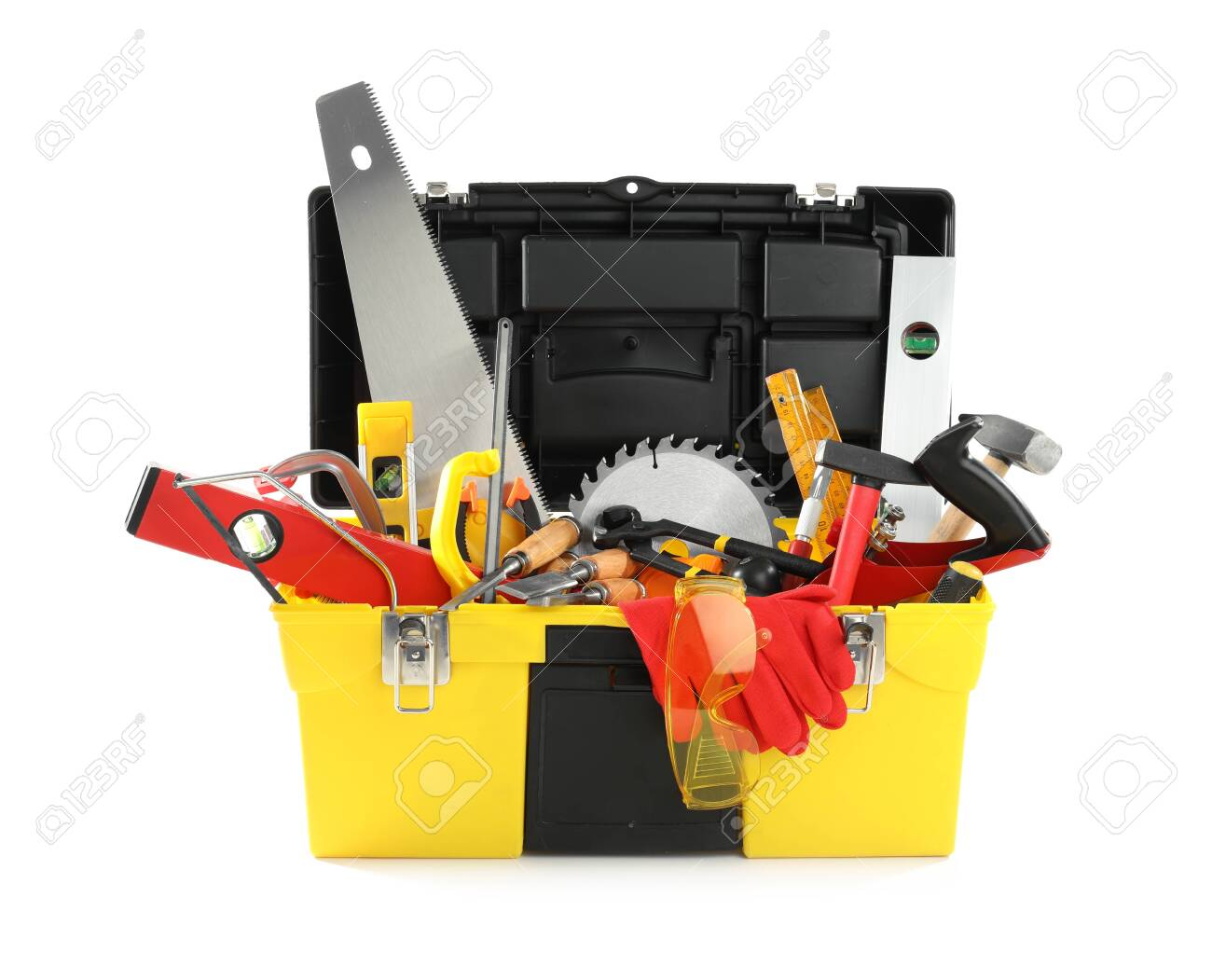 Box with different carpenter's tools isolated on white - 140746004