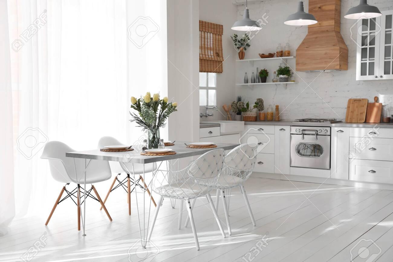 Beautiful kitchen interior with new stylish furniture - 141031774