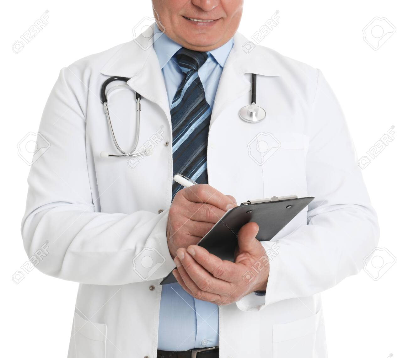Senior doctor with clipboard on white background, closeup - 141391473