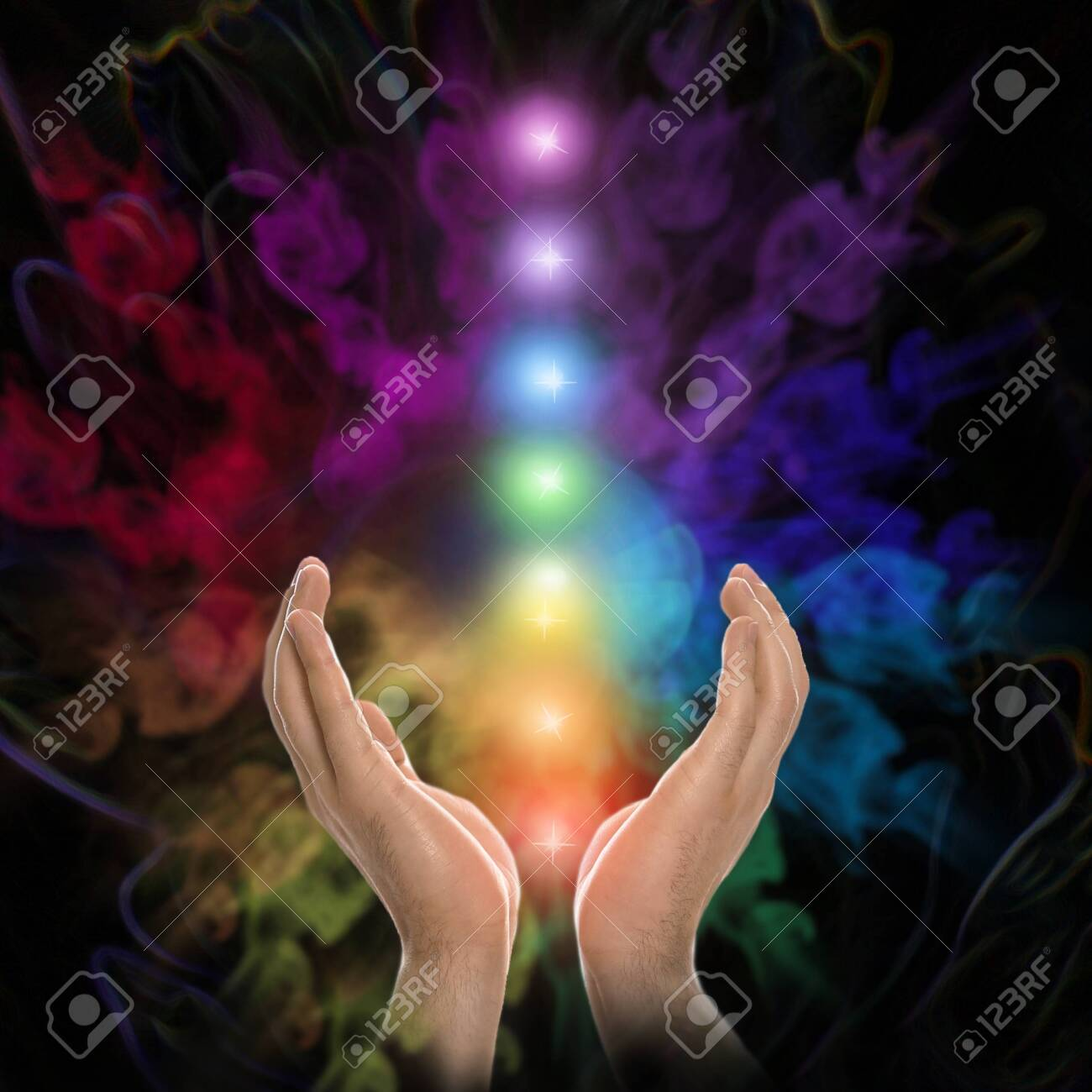 Closeup view of man and chakra points. Healing energy - 143132549