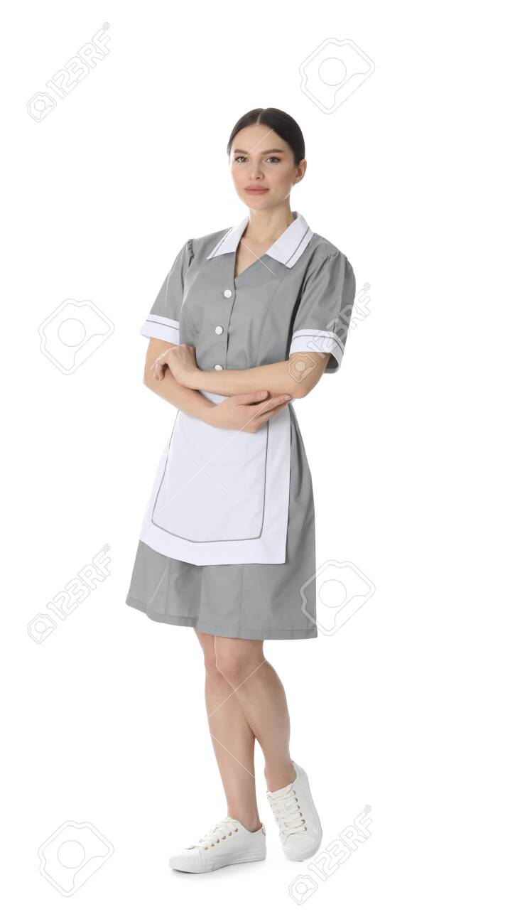 Young chambermaid in uniform on white background - 143433155