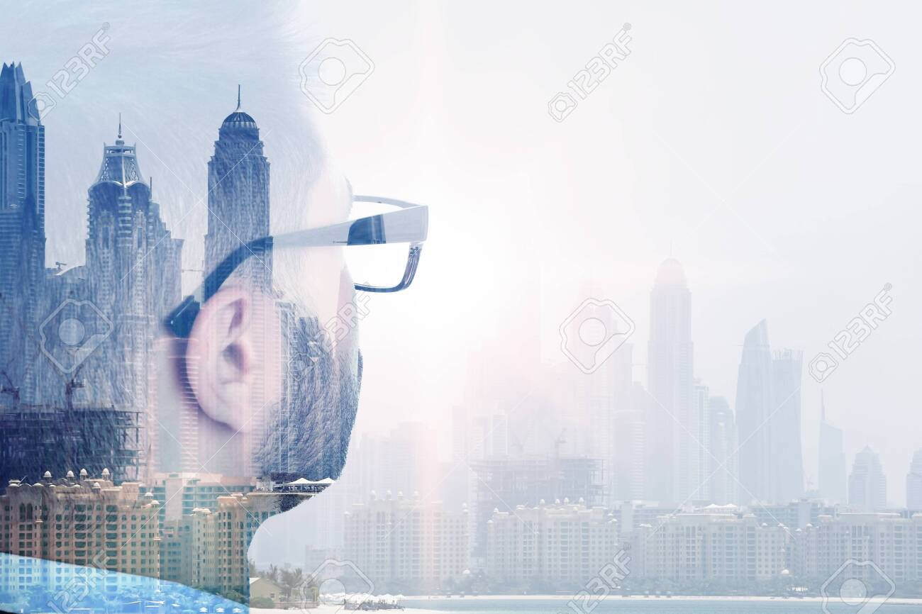 Double exposure of businessman and city landscape - 143298306