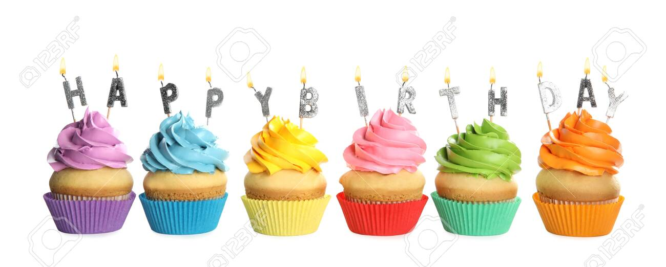 Birthday cupcakes with candles on white background - 143325200