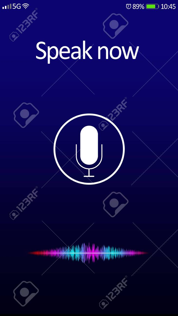Smartphone display with activated voice search app - 144804602