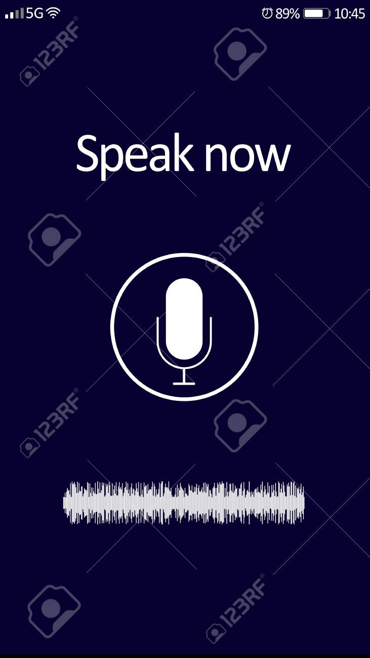Smartphone display with activated voice search app - 144804778