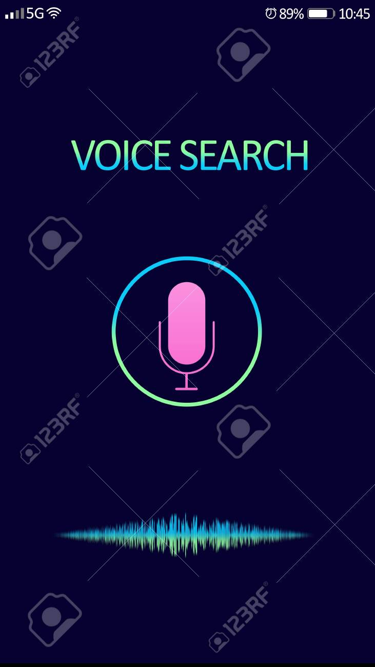 Smartphone display with activated voice search app - 144805253