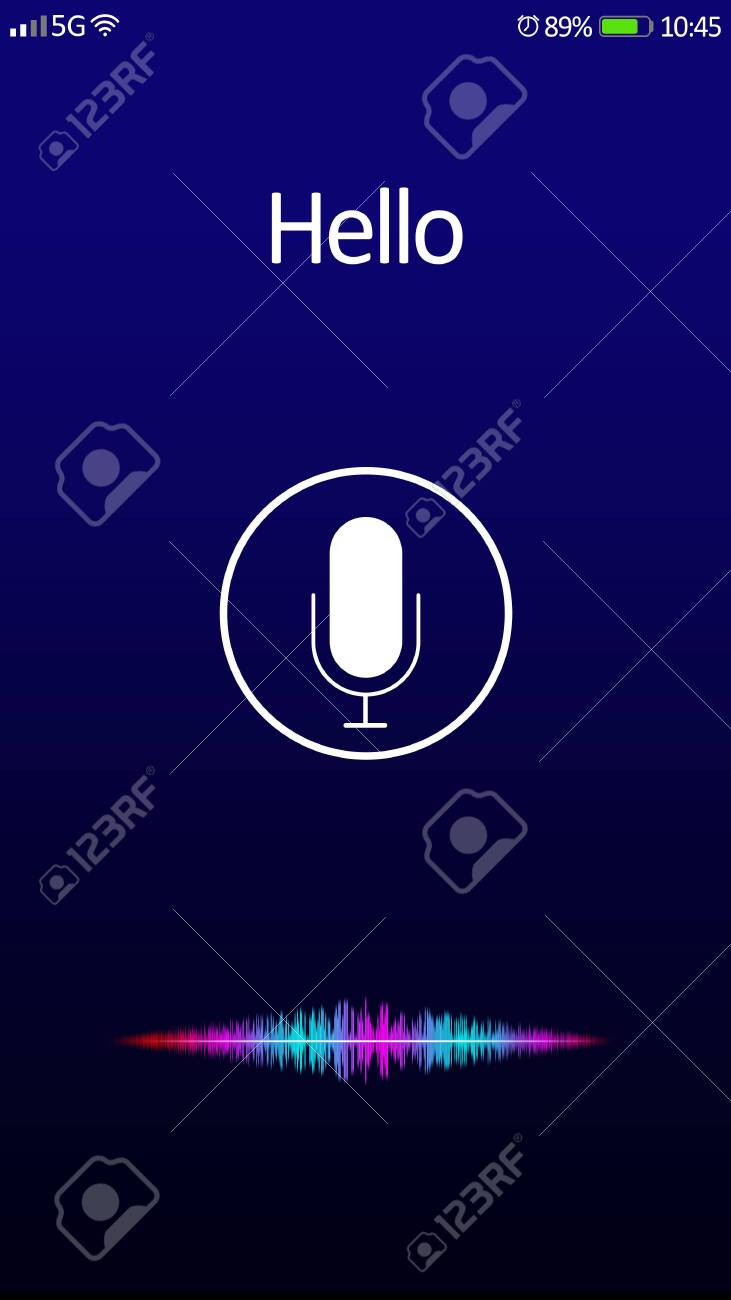 Smartphone display with activated voice search app - 144804877