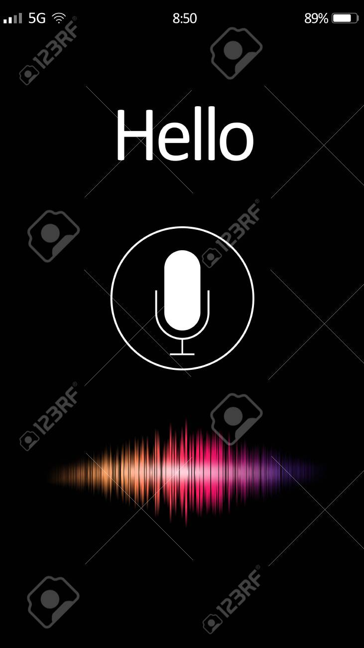 Smartphone display with activated voice search app - 144805132