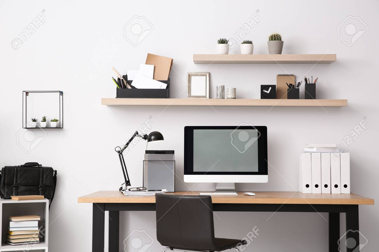Modern computer on table in office interior. Stylish workplace - 147465644