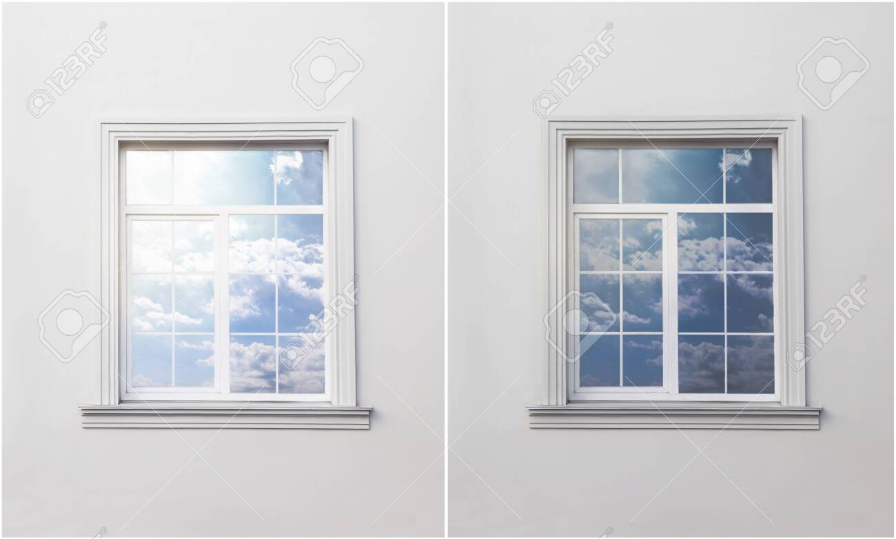Wall with window before and after tinting - 146472946