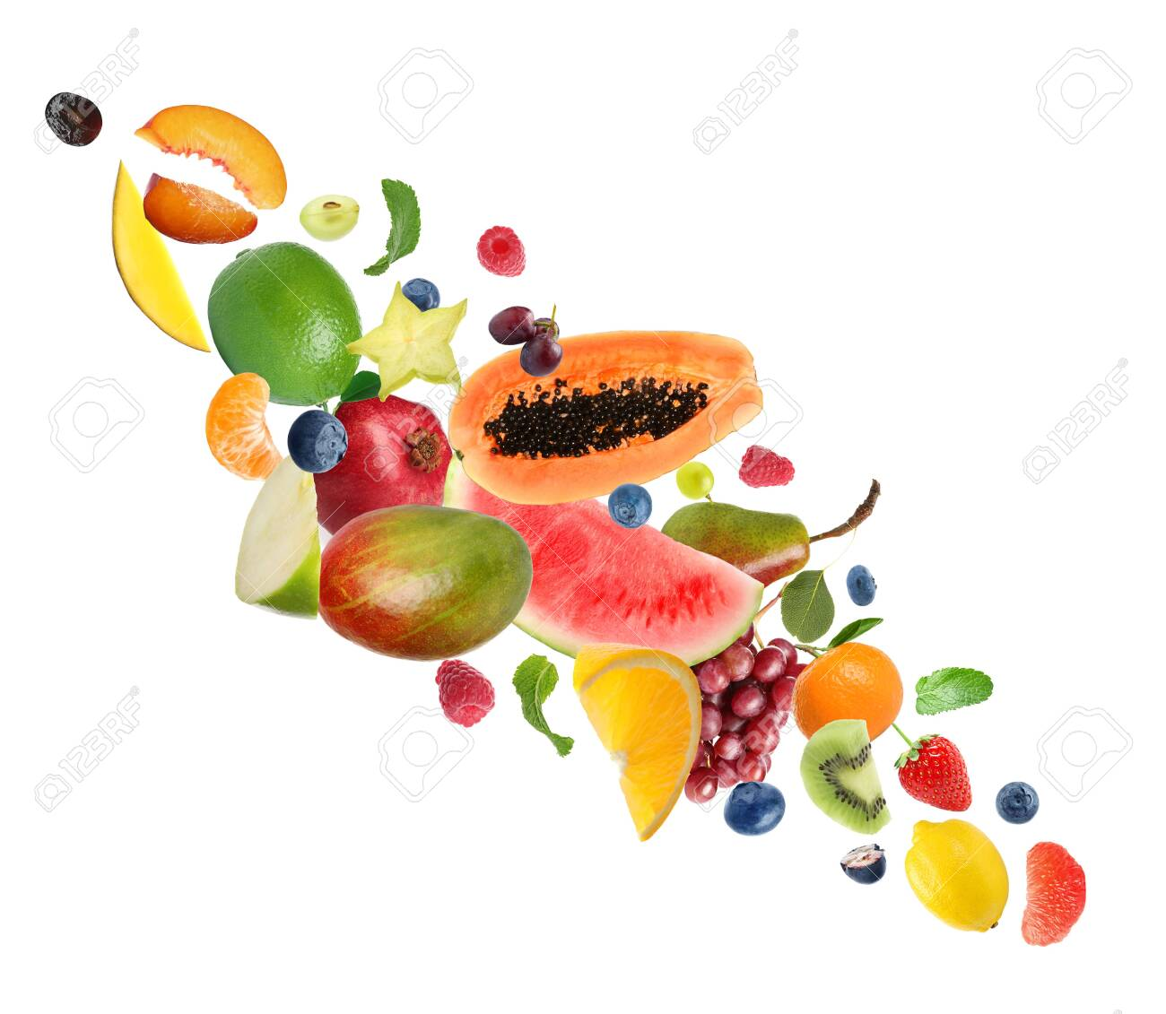 Set of different fresh fruits and berries on white background - 146823776