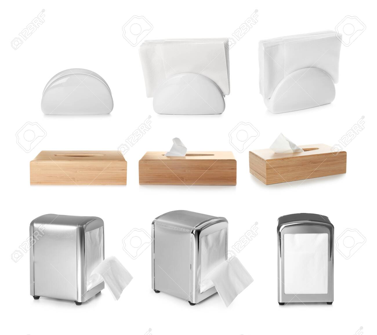 Set Of Different Modern Napkin Holders On White Background Stock Photo Picture And Royalty Free Image Image 147012228
