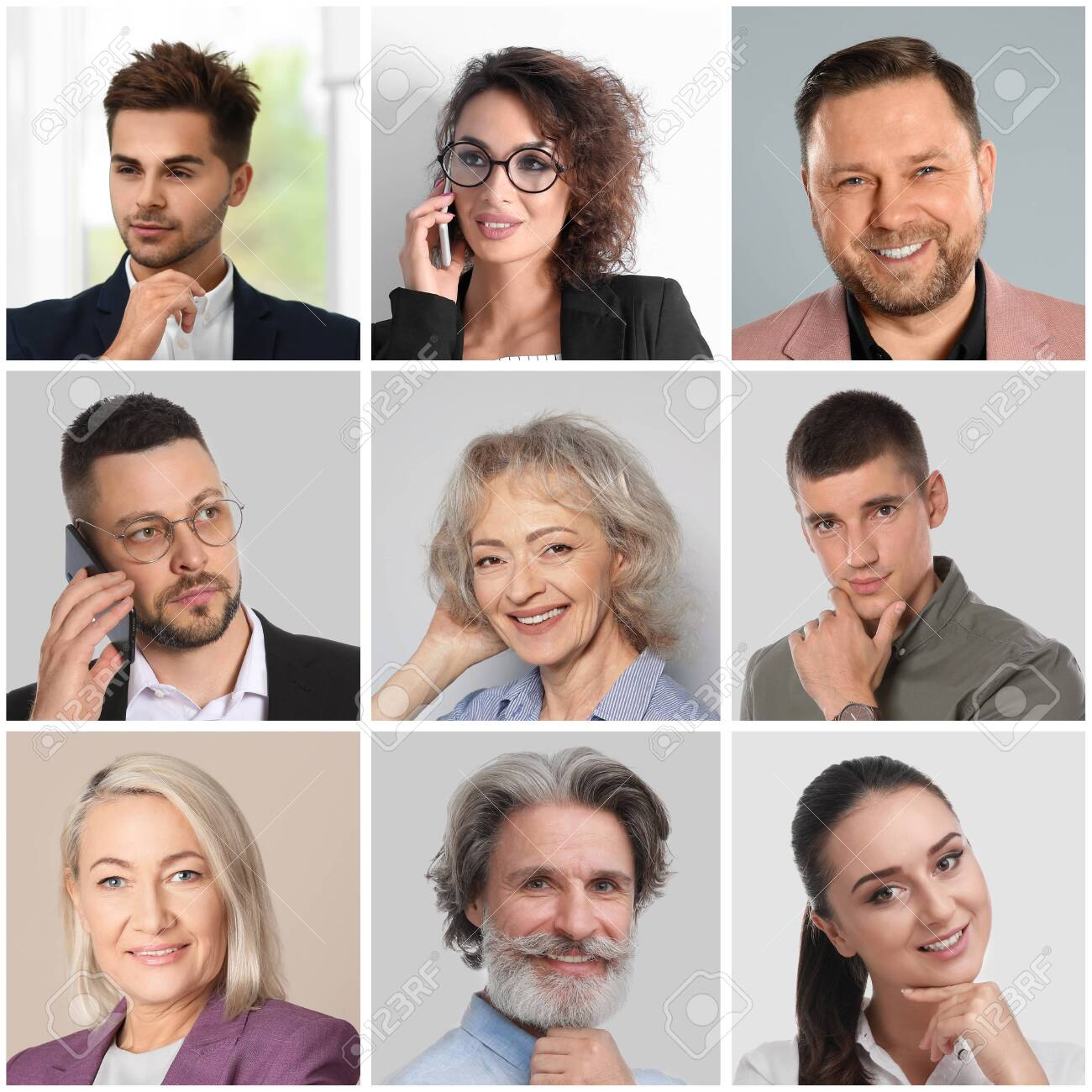 Collage with portraits of different business people - 147865536