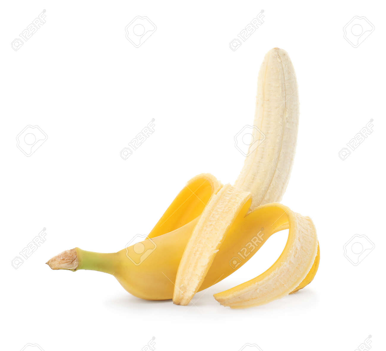 Peeled delicious ripe banana isolated on white - 149371135