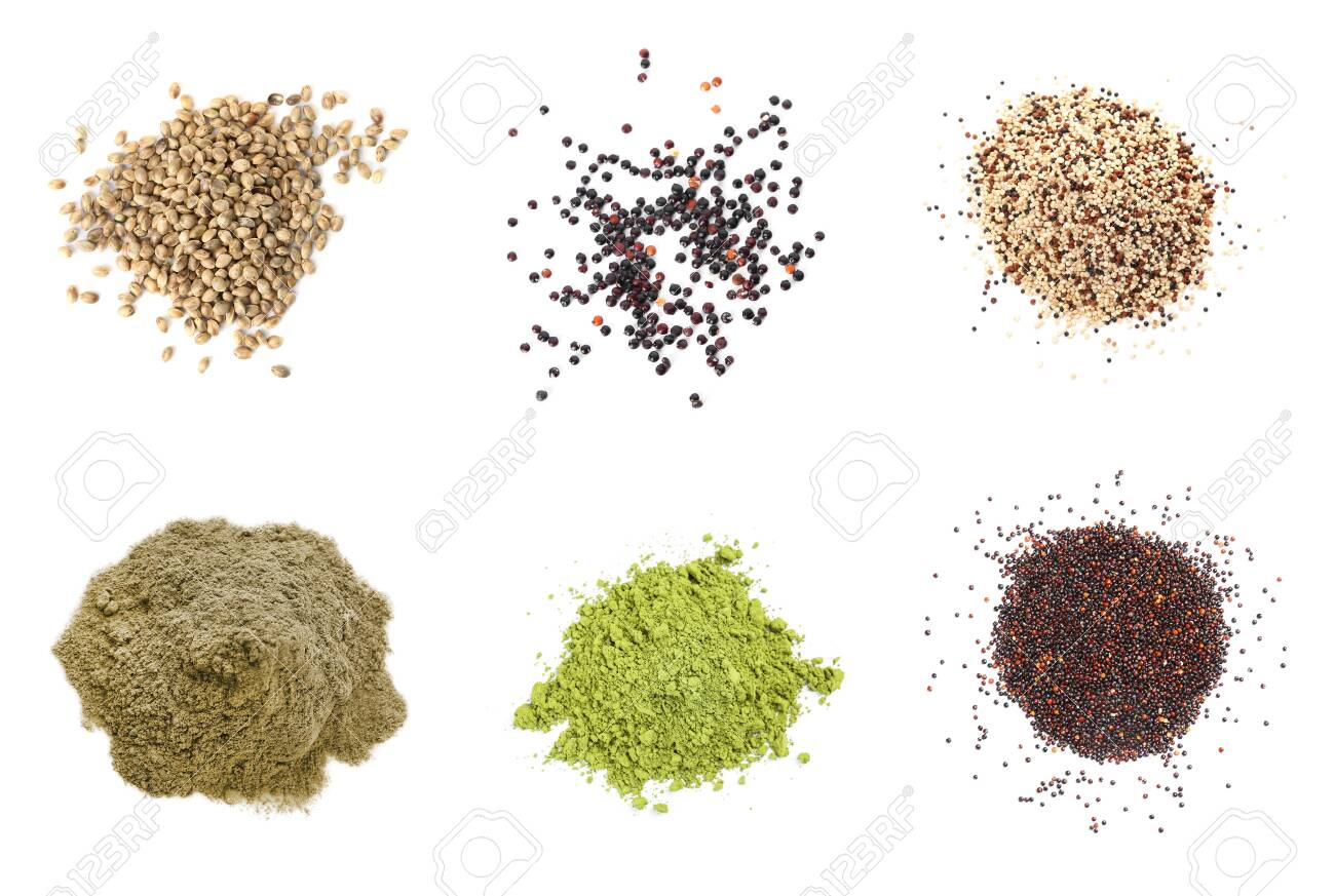 Set of different superfoods on white background, top view - 149475266