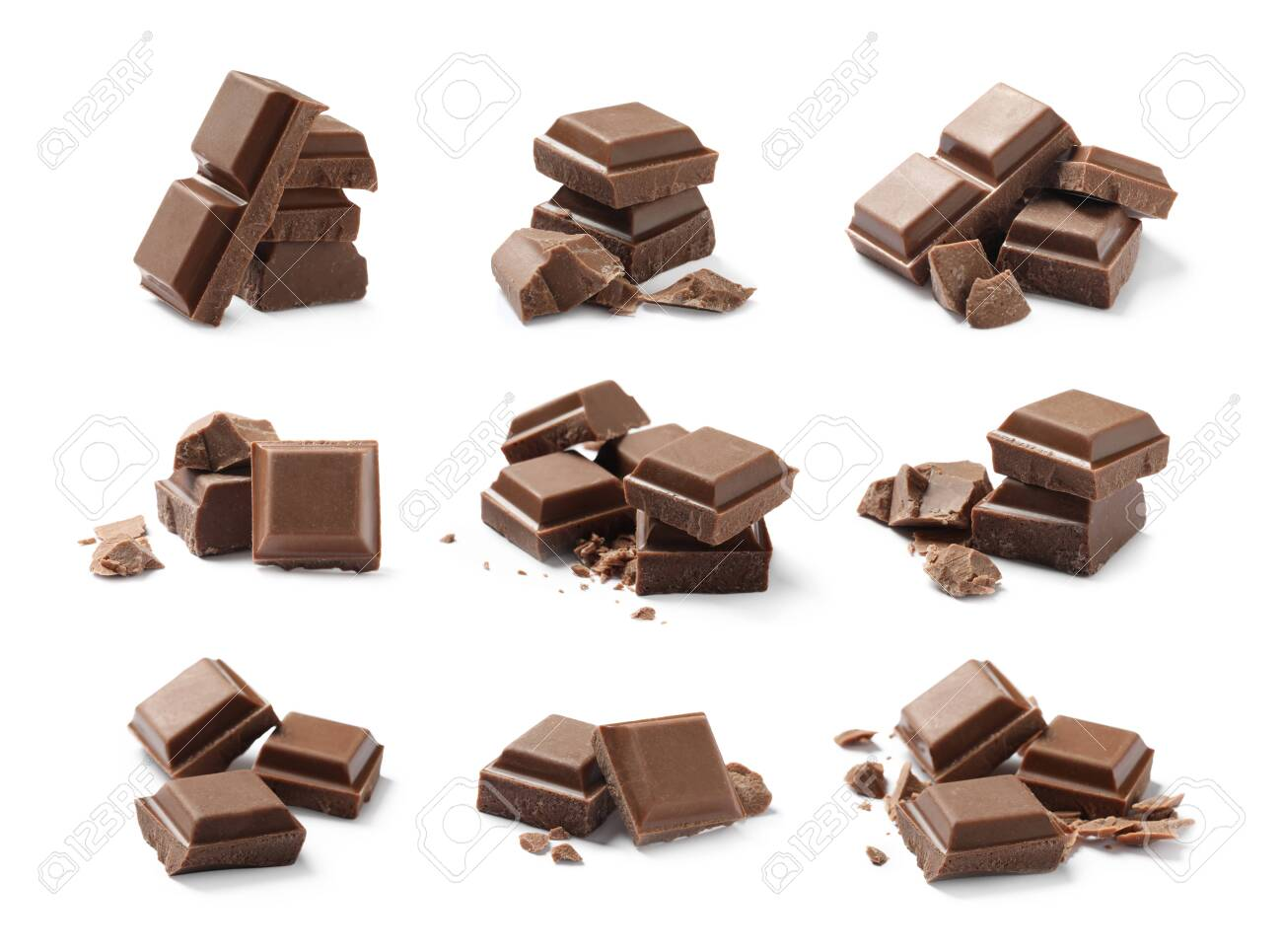 Set with pieces of milk chocolate on white background - 149373543