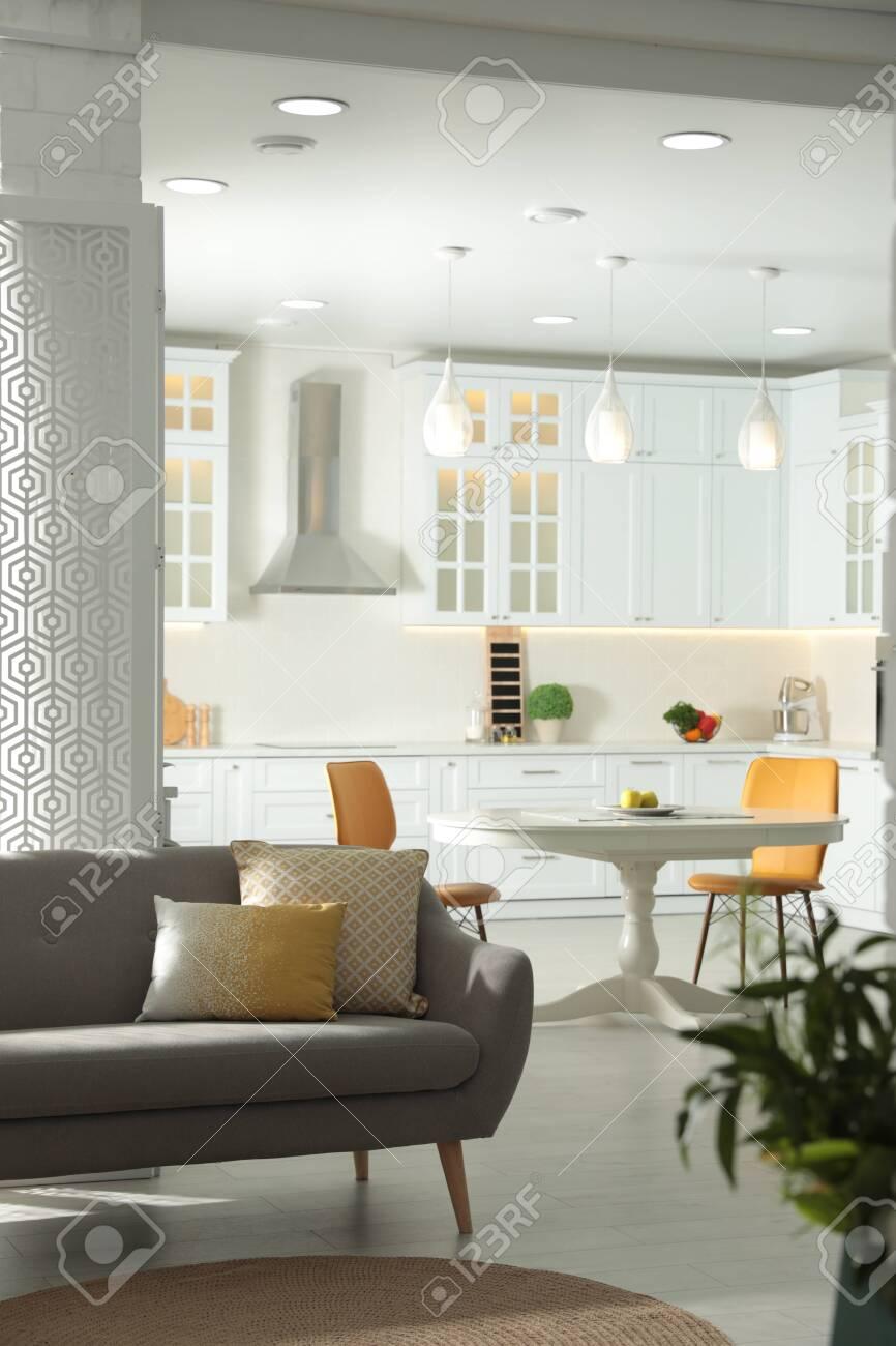 Stylish apartment interior with modern kitchen. Idea for design - 150000635