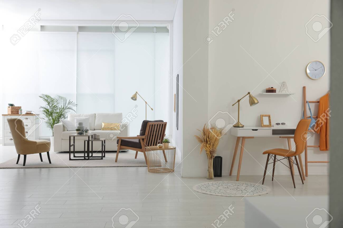 Living room and workplace in spacious apartment. Interior design - 150251514