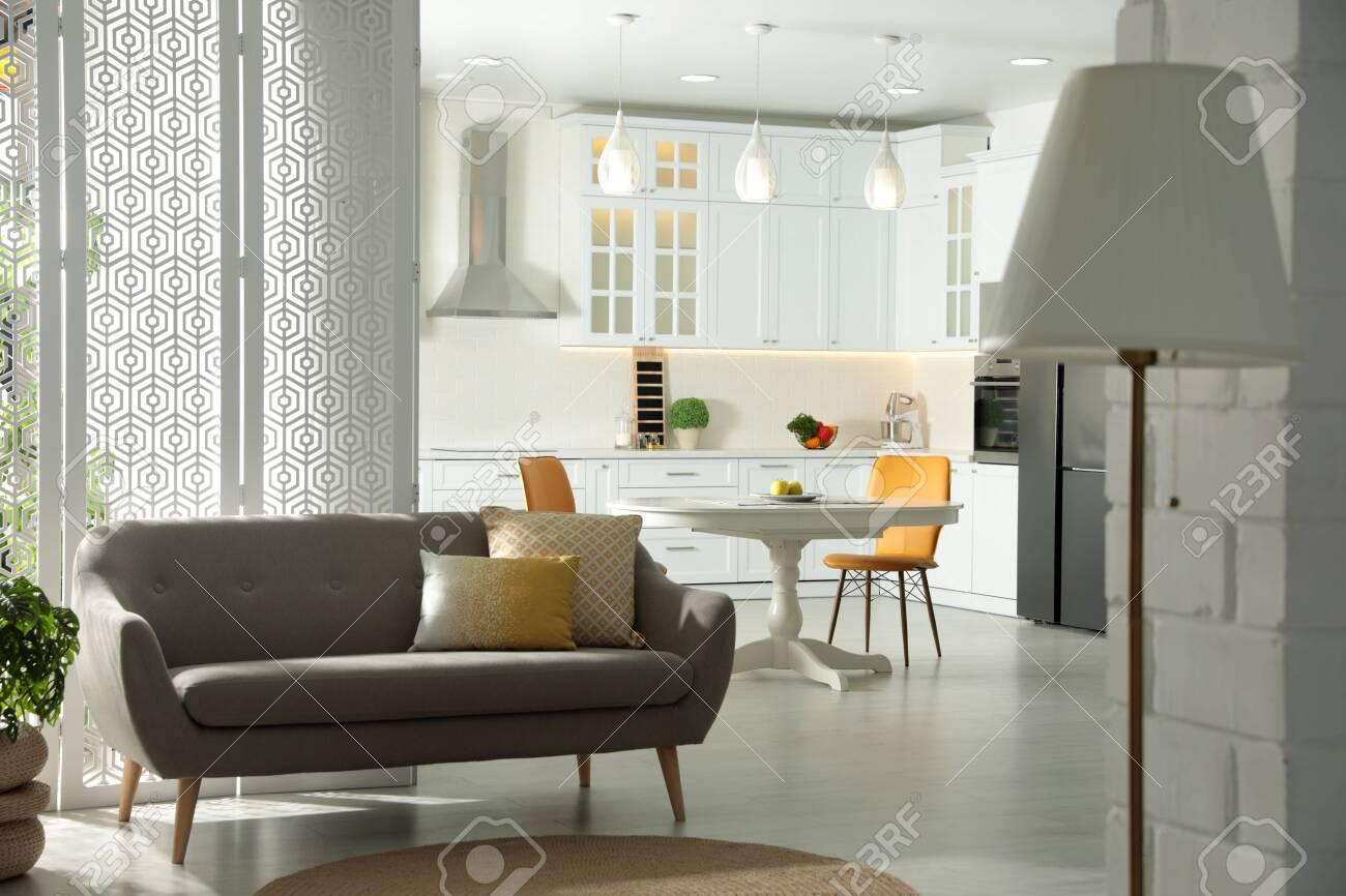 Stylish apartment interior with modern kitchen. Idea for design - 150309627
