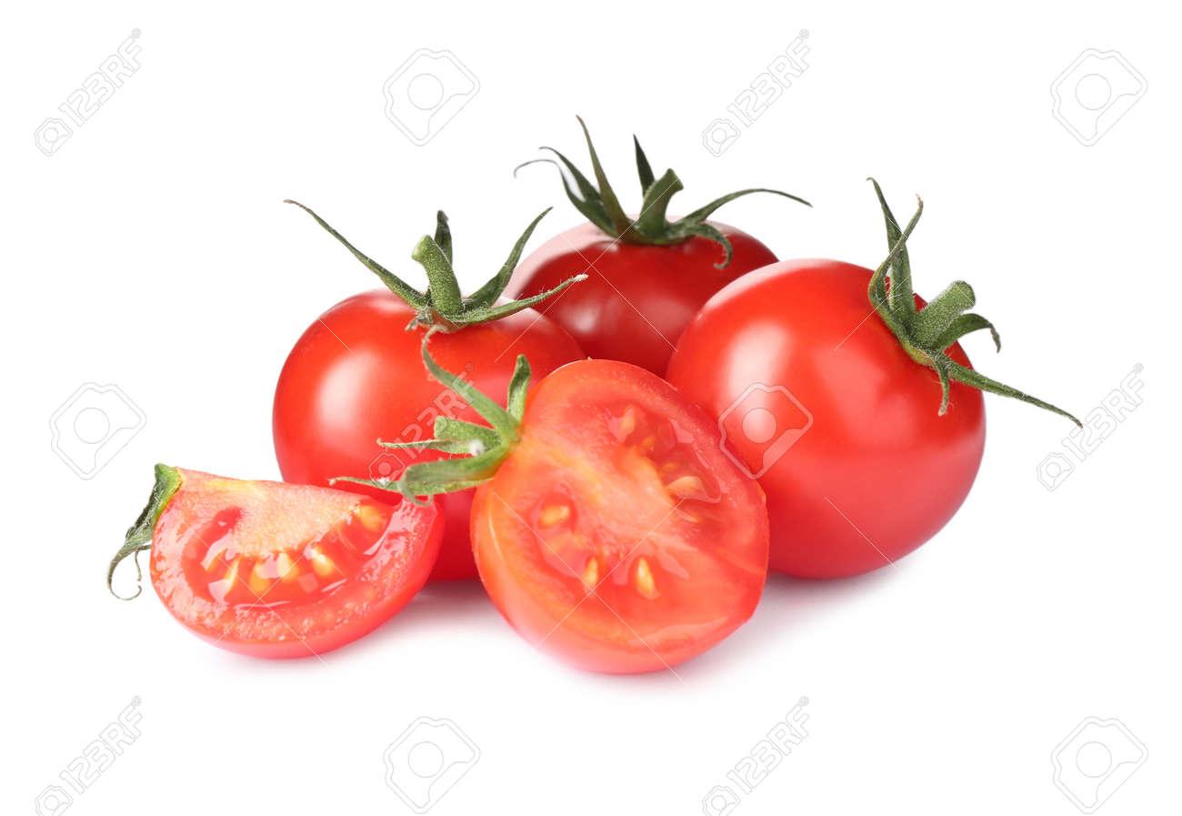 Tasty fresh raw tomatoes isolated on white - 150658666